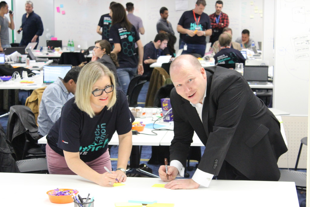 Ian Hill & Rachel Slade at Westpac 2015 Payments Hackathon
